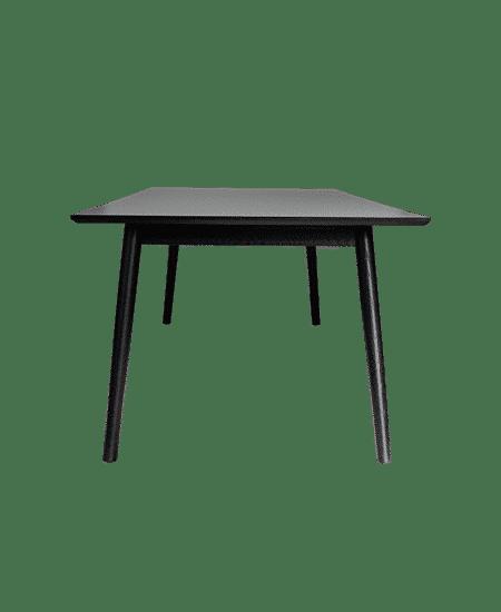 Fritlagt Easy spisebord, set fra siden, med hvid bordplade og sorte ben