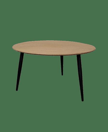 Stort fritlagt Diana sofabord med sorte ben og bordplade i massiv egetræ