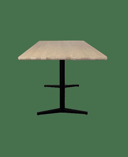 Fritlagt Diana spisebord med T-ben og massiv egetræs bordplade set fra siden