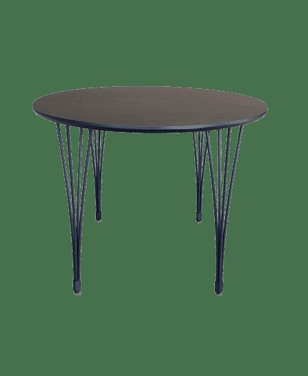 Fritlagt Freja spisebord, sort ellipseformet med splitben, set fra siden