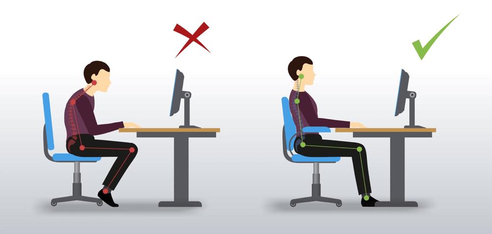Grafik der viser, hvordan man sidder ergonomisk korrekt på en stol