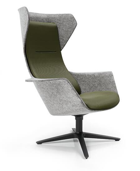 Wooom 75 lænestole i grøn og grå, med øre og drejefod