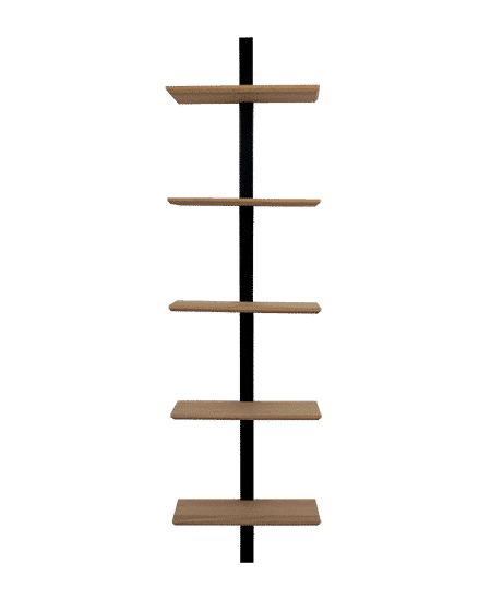 Fritlagt BF reol, med egetræs hylder og sort midterstykke, med hylder placeret i midten