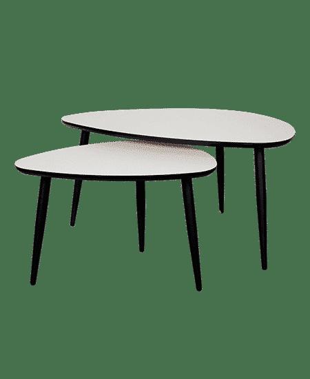 Fritlagt Loke sofabordssæt i hvid nanolaminat med sorte ben